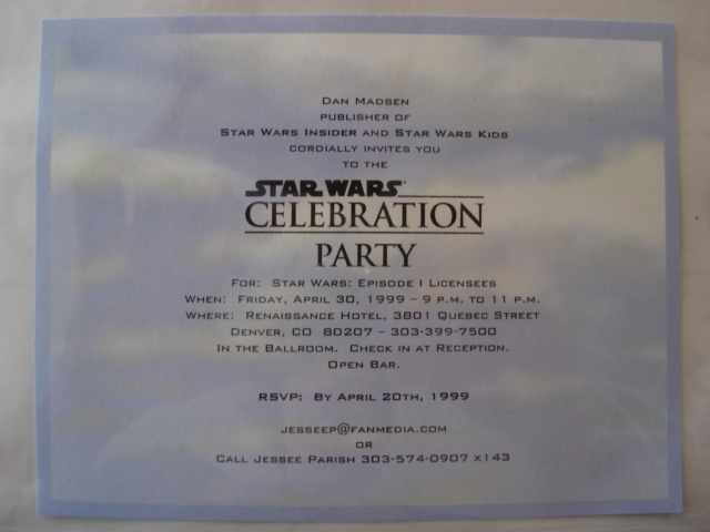 Sw celebration licensee exclusive party invitation star wars sw celebration licensee exclusive party invitation star wars collectors archive stopboris Images