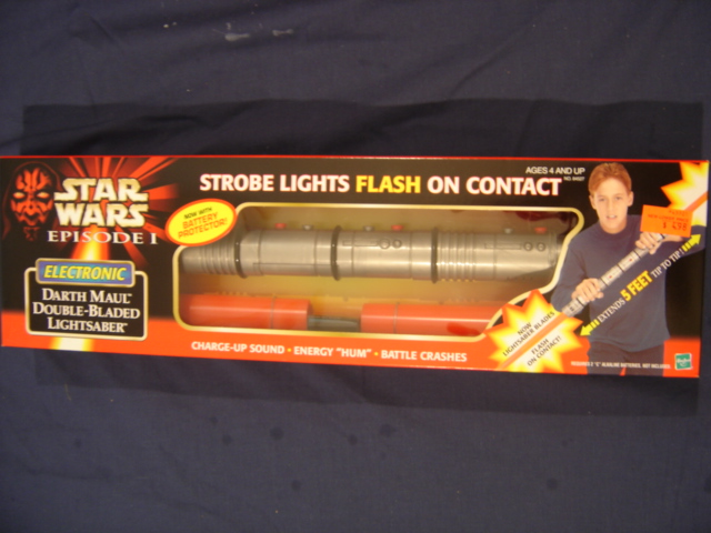 Darth Maul Electronic Lightsaber (Battery Cover Comment on Box Litho) - Star Wars Collectors Archive