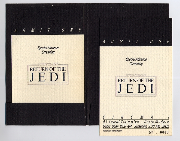 Return Of The Jedi Us Crew Screening Invitation Corte