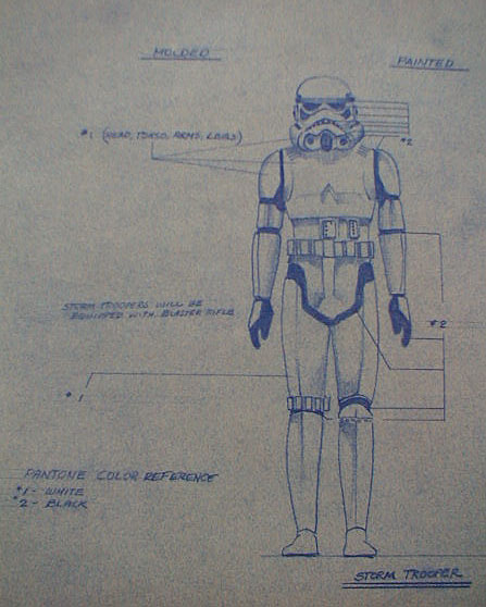 Stormtrooper action figure blueprint star wars collectors archive exact sculptingprototyping specifications as were some other blueprints rather they probably allowed the designer to work out his ideas on paper and malvernweather Choice Image