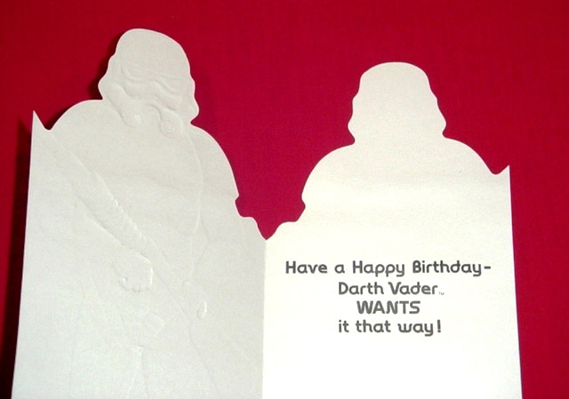 Die cut stormtrooper art have a happy birthday darth vader wants the final image shows the inside of the card containing a birthday wish collectors will be pleased to know that the original artwork associated layout bookmarktalkfo Images