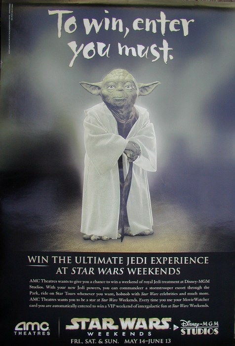 Amc Theatres Yoda Star Wars Weekends One Sheet Star Wars