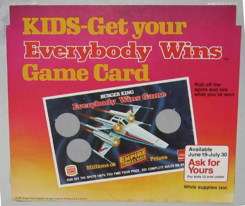 Burger King ESB Everybody Wins Register Card [game piece